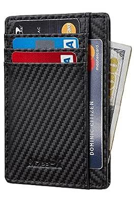 SimpacX Slim Wallet RFID Front Pocket Wallet Minimalist Secure Thin Credit Card Holder (Carbon Leather Black)