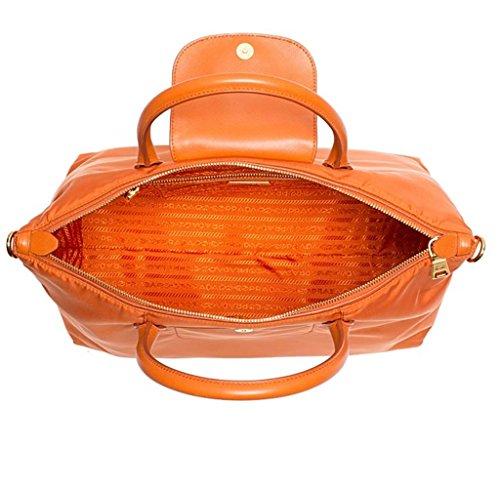 4c2aa8d720 Amazon.com  Prada Tessuto Saffiano Nylon Tote Shopping Shoulder Bag Papaya   Shoes
