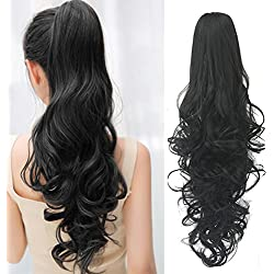 Ponytail Hair Extensions Clip in 24 Inch Black Synthetic Claw Clip Pony Tail Hairpieces 120 Grams Long Natural Curly Ponytail Wigs Clip-ins, #1B