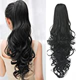 Ponytail Hair Extensions Clip in 24 Inch Black Synthetic Claw Clip Pony Tail Hairpieces 120 Grams Long Natural Curly Ponytail Wigs Clip-ins, 1B