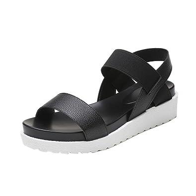 a47de21e48db4 Amazon.com   Creazrise Fashion Sandals Women's Aged Low Heel Leather ...