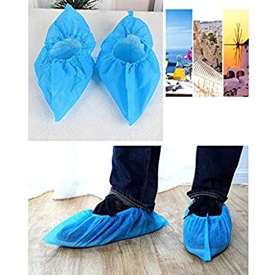 Shoe Covers Disposable Non Slip Non-Woven Fabric Disposable Shoes Covers with Elastic Band Breathable Dust-Proof 100pcs (Blue): Clothing