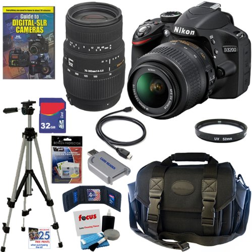 Nikon D3200 24.2 MP CMOS Digital SLR Camera with 18-55mm f/3.5-5.6G AF-S DX VR Lens and Sigma 70-300mm f/4-5.6 SLD DG Macro Lens with built in motor + 32GB Deluxe Accessory Kit, Best Gadgets