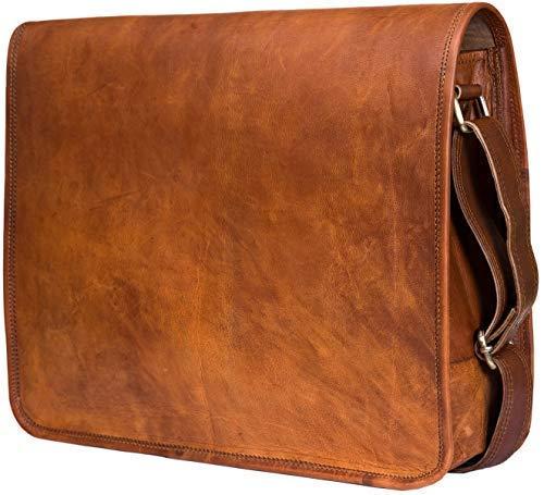 b5a4c7d0bf65 Urban Leather Handmade Over The Shoulder Laptop Bag for Men Women Boys  Girls