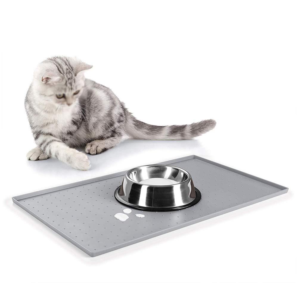 HUI JIN Pieghevole Impermeabile 50 x 30 cm Tappetino in Silicone per Cibo per Animali Domestici Antiscivolo