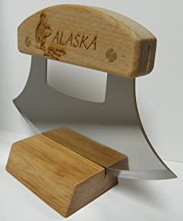 product image for Alaskan Heritage Series Inupiat Style Ulu with Ice Fishing Etched Birchwood Handle