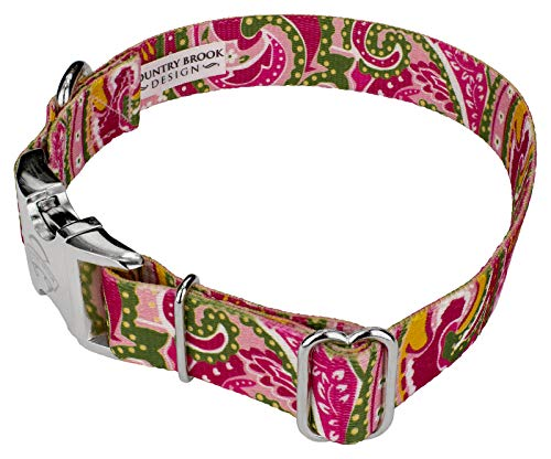 Image of Country Brook Petz | Pink Paisley Premium Dog Collar (Large)