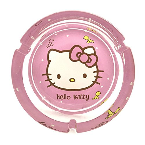 n Simple Transparent Glass Hello Kitty Doraemon Cigarette Ashtray for Home (Large, Hello Kitty) ()