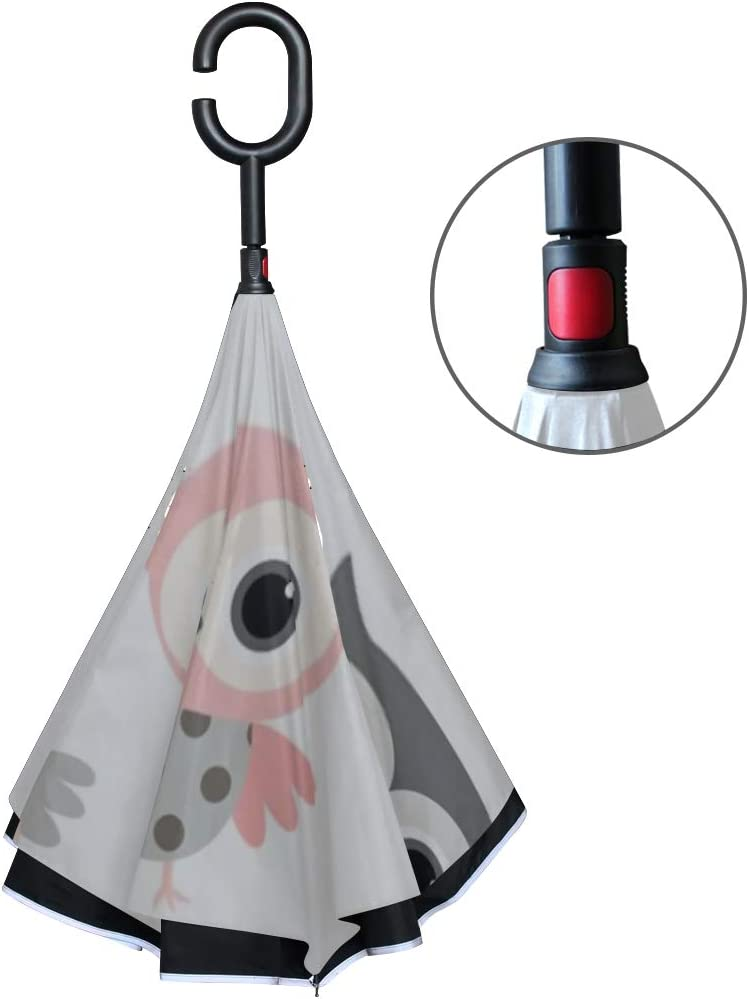 Double Layer Inverted Inverted Umbrella Is Light And Sturdy Cute Pink Grey Cartoon Owls Vector Reverse Umbrella And Windproof Umbrella Edge Night Ref