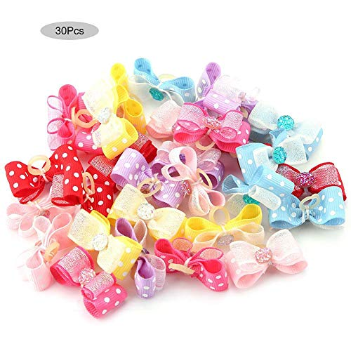 HEEPDD 30PCS Dog Cat Hair Bows, Pet Elastic Hair Bands Cat Puppy Headdress Bowknot Grooming Hair Accessories with…