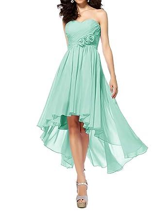 6e13a5daf Women's High Low Lace Up Chiffon Prom Bridesmaid Party Dresses Aqua US2