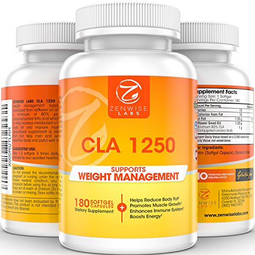 CLA 1250 - Dietary Weight Loss Supplement - Conjugated Linoleic Acid to Burn Fat, Slim Down & Build Muscle - Immune, Metabolism & Energy Booster - Plant Derived With Safflower Seed Oil - 180 Softgels