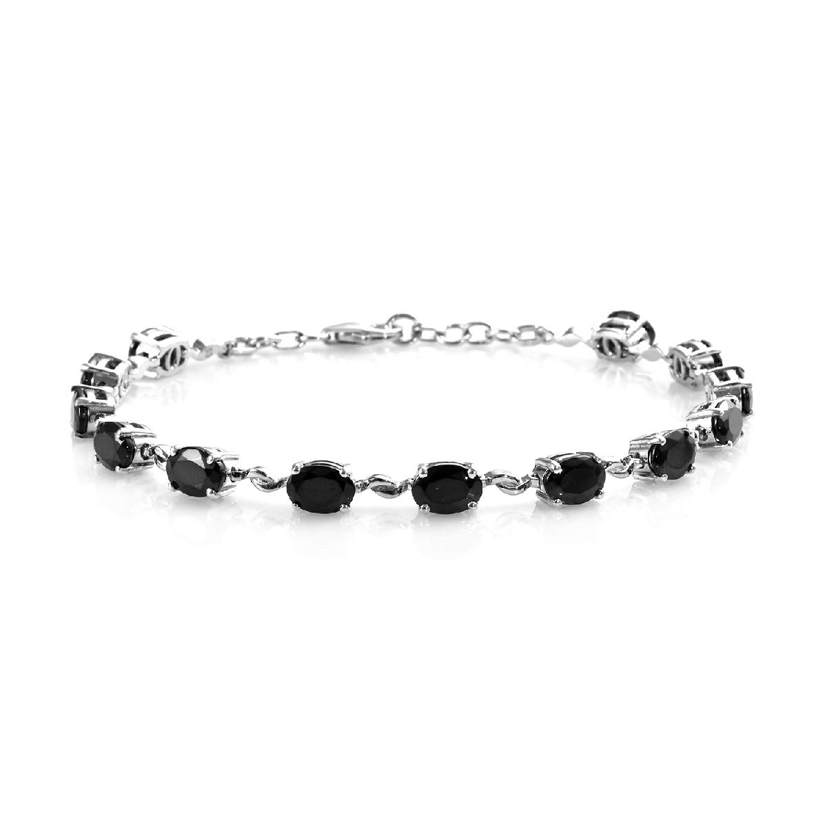 Tennis Bracelet 925 Sterling Silver Platinum Plated Oval Shungite Jewelry for Women Size 8'' Ct 5 by Shop LC Delivering Joy