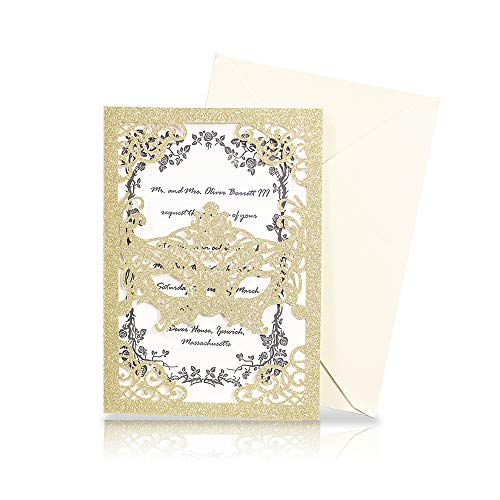 KAZIPA 25pcs Laser Cut Wedding Invitations, 5x7 Masquerade Party Invitations with Ivory Envelops for Makeup Party Wedding Bridal Shower Engagement Graduation Invitation Cards]()