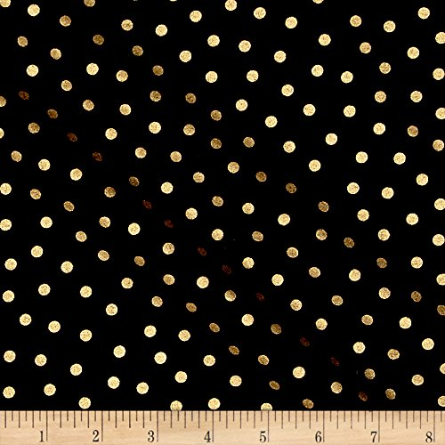CAMELOT Fabrics Mixology Luxe Dotted Fabric by The Yard Black/Gold Metallic