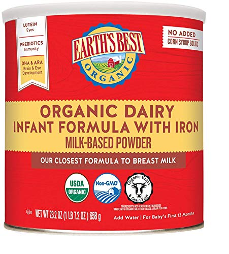 Earth's Best Organic Dairy Infant Powder Formula with Iron, Omega-3 DHA and Omega-6 ARA, 23.2 oz. (Pack of 4)