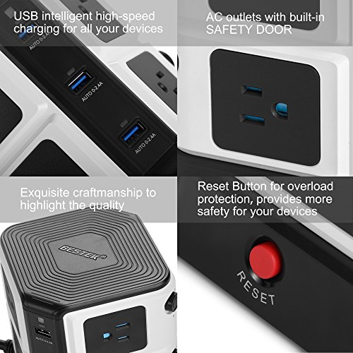 BESTEK USB Power Strip 8-Outlet Surge Protector 1500 Joules with 40W/8A 6 USB Charging Station,ETL Listed,Dorm Room Accessories by BESTEK (Image #4)