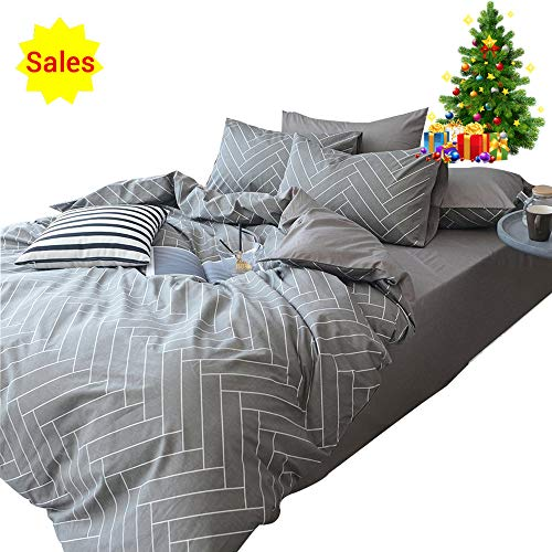 een Duvet Cover Sets Gray White 3 Piece Bedding Set Full Size for Teens Man with 2 Pillow Shams Zipper Closure and 4 Corner Ties(Queen/Full, Style 192) ()