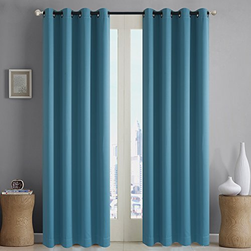 Rose Home Fashion RHF Blackout Thermal Insulated Curtain - Antique Bronze Grommet Top for Bedroom/Living Room(Turquoise-52 by 96 Inches) Turquoise Bronze