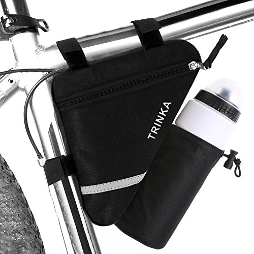 MOOCY Ultralight Reflective Bicycle Triangle Frame Bike Bag with Water Bottle Pouch -Black from MOOCY