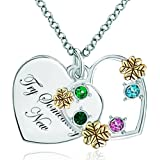 Maman Je T'aime - Pugster Bijoux Ton Argent Cadeau Colorful Cristal 18k Gold Clover Heart Engraved Try Something New Pendentif Collier Femme FantaisiePDLA023