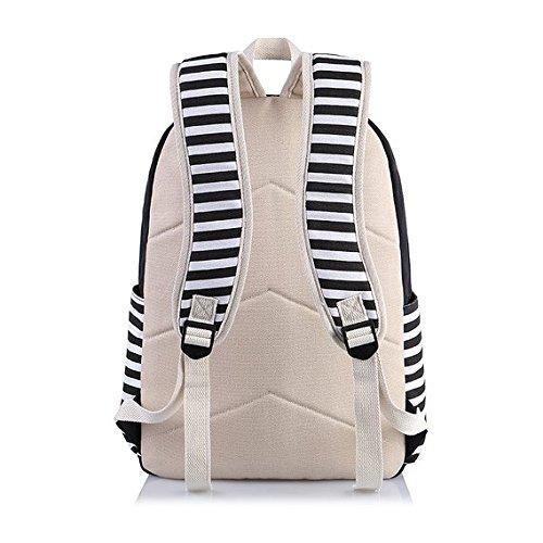 Rayas Casual lona portátil bolso escolar mochila ligera mochilas para niñas adolescentes (Púrpura) Negro