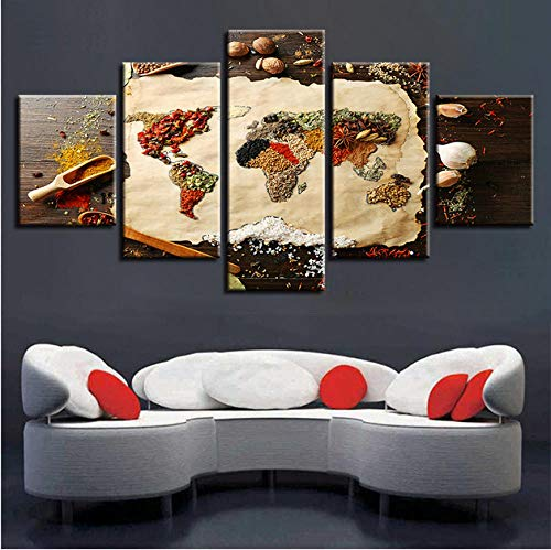 (Ssckll Canvas Paintings Living Room Wall Art 5 Pieces Grains Spices World Map Pictures Hd Prints Food Poster Home Decor-Framed)