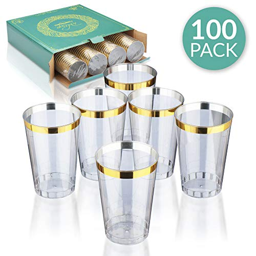 12 oz Gold Rimmed Plastic Cups By Rolugo - Shatterproof Gold Rimmed Disposable Cups - Gold Rimmed Clear Cups Ideal For Wedding, Parties, Birthdays And Special Occasions - Plastic Party Cups 100 Count ()