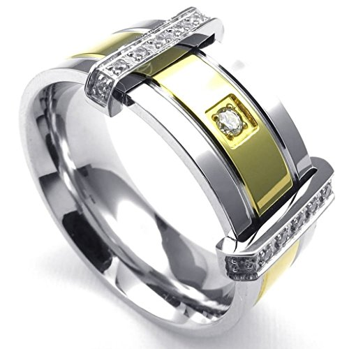 Bishilin Stainless Steel Fashion Men's Rings Classical CZ Ring Silver Gold Size 7 (Mens White Gold Pinky Ring)