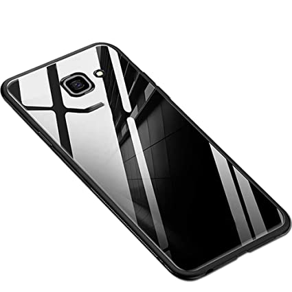 official photos 921a1 616db TheGiftKart Luxurious Toughened Glass Back Case with Shockproof TPU Bumper  Back Case Cover for Samsung Galaxy J7 Prime/On Nxt (All Black)