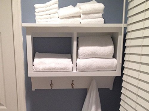 Towel Rack Cubby Wall Shelf Bathroom Holder Display Rack 2 Cubby Wall Storage Shelf