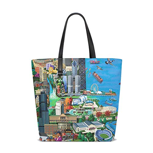 Chicago City Millennium Park Tote Bags Handbag Waterproof Shopping Totes For Women Girls Travel Beach Double-sided - Handbag Millennium Leather