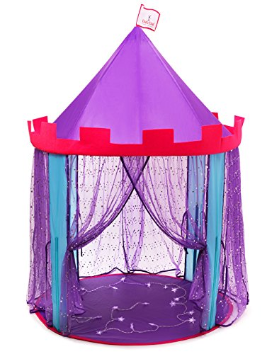 - DafiDaf Play Tent Princess Castle for Girls + Bonus Fairy Lights - Pink, Purple, & Blue, Indoor & Outdoor Toddlers & Kids Play Tent Toys - Portable, Foldable Kids Playhouse, 39.4x39.4x60.4