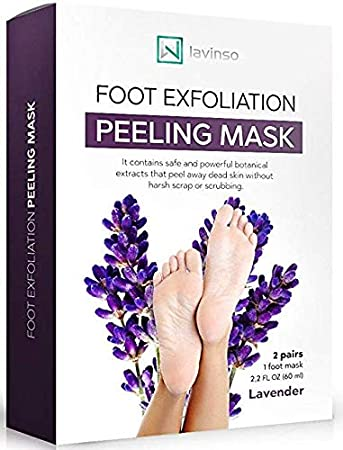 Lavinso Exfoliating Foot Peel Mask for Feet Peeling 2 Pack - Peeling Socks Booties - Exfoliating Dry Dead Cracked Rough Skin Heels Calluses - Callus Remover - Baby Soft Smooth Touch Feet - Men Women lavinso_111