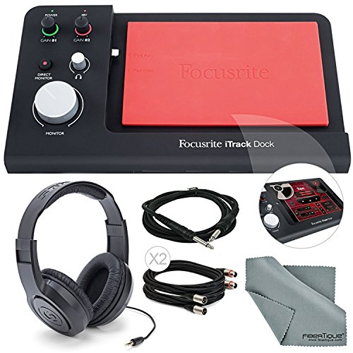 Focusrite iTrack Dock Professional Recording for iPad Deluxe Bundle W/ 2 XLR Cables + Samson Stereo Headphones + 1/4 Inch Cable + Fibertique Cleaning Cloth by Photo Savings