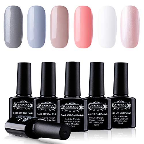 Perfect Summer Pro 6PCS Semi-permanent Gel Nail Polish Color Varnish Soak Off UV LED Home Gel Manicure Gift Set New Arrival, 10ML Each 014