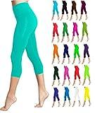 Lush Moda Seamless Capri Length Basic Cropped Leggings - Variety of Colors - Turquoise OS