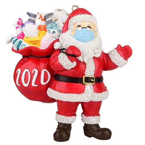 2020 Christmas Ornament Santa Wearing_Mask in Quarantine Keepsake Unique Luxury Ornament for Tree Christmas Decoration BiuBuy