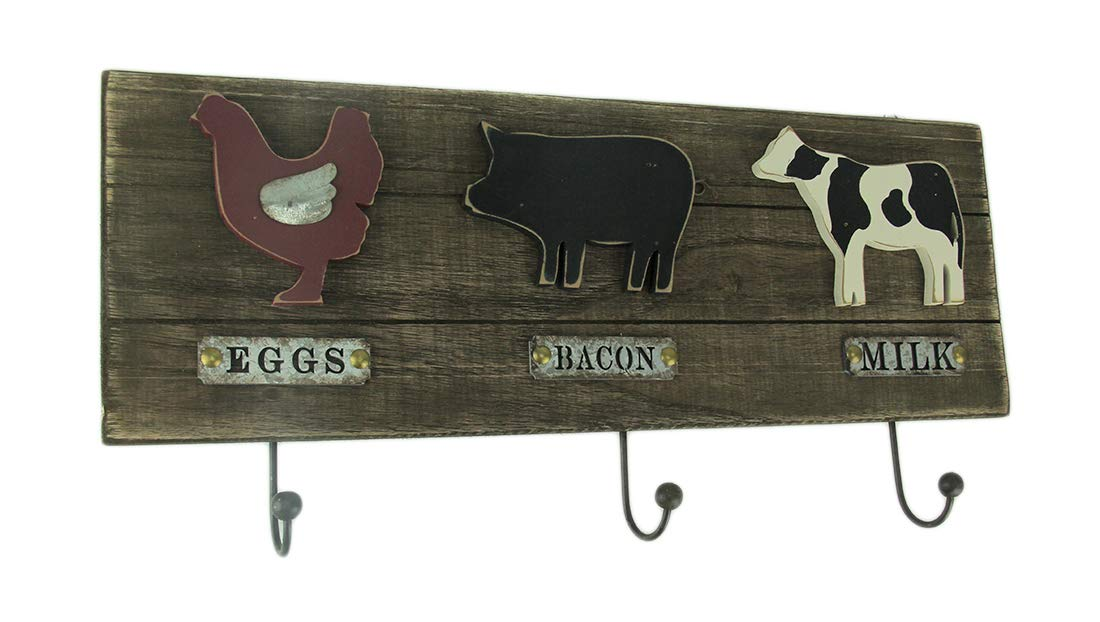 Direct International Wood & Metal Decorative Wall Hooks Country Farmhouse Recycled Wood Farm Animals Wall Hook 22 X 10.5 X 1 Inches Brown