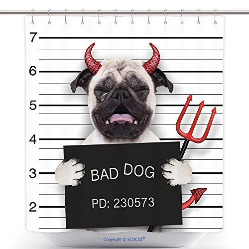 Durable Shower Curtains Halloween Devil Pug Dog Crying In A Mugshot Caught On With Photo Camera In Police Station Jail 319956530 Polyester Bathroom Shower Curtain Set With (Devil Halloween Costume Ebay)