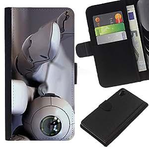 KingStore / Leather Etui en cuir / Sony Xperia Z2 D6502 / Robot ojo Globo ocular Mano Blanca Tecnología espía