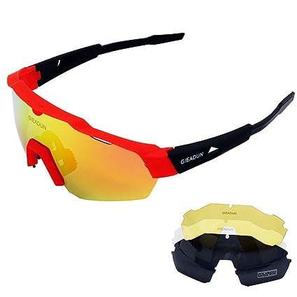 GIEADUN Gafas Deportivas de protección para Gafas de Sol con 4 Lentes Intercambiables polarizadas UV400 para Ciclismo, Pesca, esquí, Golf (Red): Amazon.es: ...