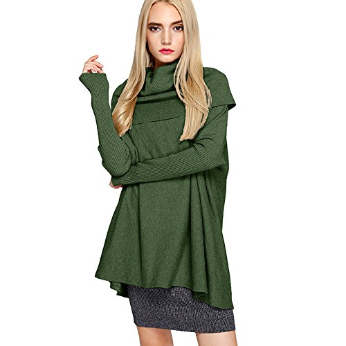 Hembra XIU Hembra Cuello Tortuga Gules green F Sweater Tejida Suéter RONG Invierno fAAnWExrBU