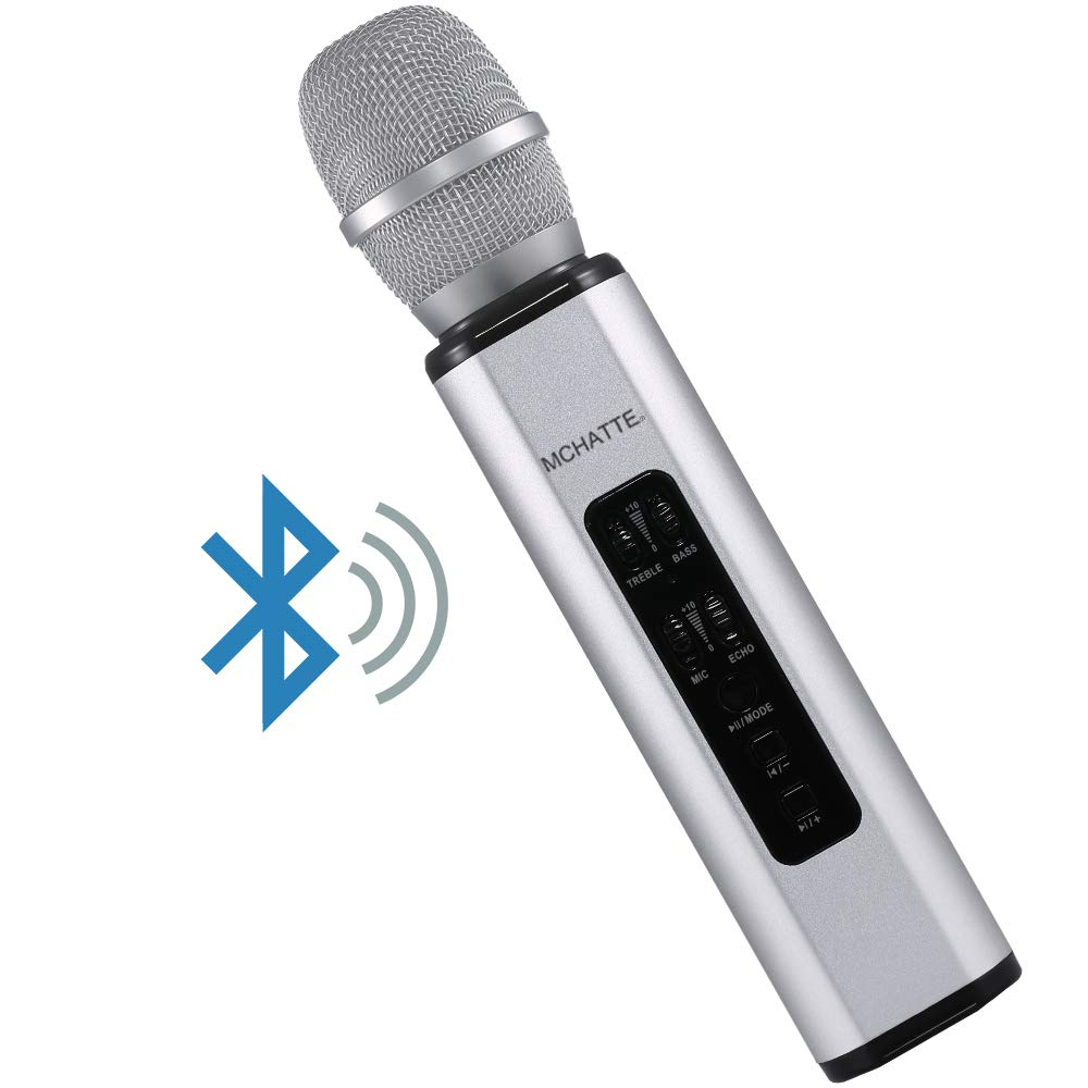 Wireless Bluetooth Karaoke Microphone, MCHATTE Portable Handheld Karaoke Machine Speaker Christmas Birthday Home Office Party Travel for Android/iPhone/PC (Silver) by MCHATTE