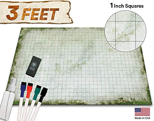 Battle Grid Game Mat - 36x24 Table Top Role Playing Map - DND Role Play - RPG Dungeons and Dragons Maps Tiles - Reusable Miniature Figure Board Games - Tabletop Gaming Mats (Moss) (Battle Masters Board Game)