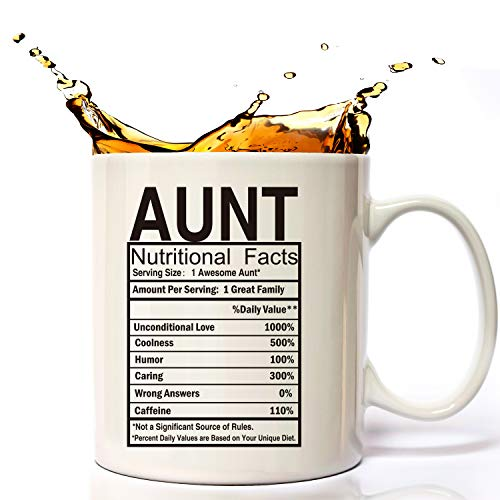 Mothers Day Gifts for Aunt Nutritional Facts Label,Aunt Gifts For Christmas From Nephew,Niece, Aunt Birthday Mugs Coffee Cups For the Greatest Aunt's Birthday Novelty Cup, Aunt Smile Laugh Gag Mug