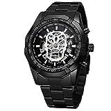 Reloj T- Winner Hombre Automático Skeleton de Calavera Skull Acero Inoxidable (Negro)