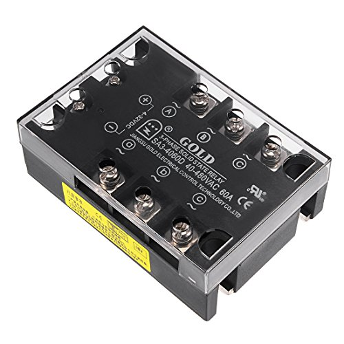 uxcell SA34060D 4-32VDC to 40-480VAC 60A Three Phase Solid State Relay Module DC to AC (3 Phase Solid State Relay 60 Amp)