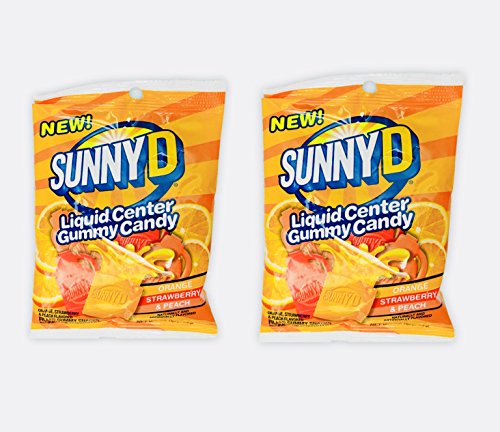 Sunny D Liquid Center Gummy Candy 2 Pack! Delicious & Tasty! 3.6oz Per Bag! Orange, Strawberry, & Peach Flavor! Filled With A Bold & Tangy Burst Of Flavor!