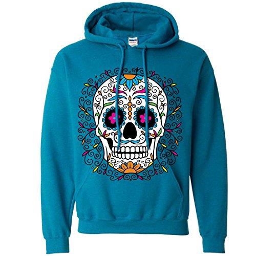 Dia De Los Muertos Pastel Sugar Skull Sweatshirt Hoodie - Antique Sapphire XX-Large ()